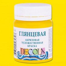 Желтая светлая краска акриловая глянцевая Decola ( Декола ) 50 мл