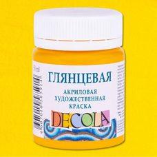 Желтая средняя краска акриловая глянцевая Decola ( Декола ) 50 мл