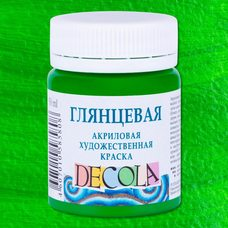 Зеленая светлая краска акриловая глянцевая Decola ( Декола ) 50 мл
