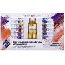 Набор подарочный масляных красок МАСТЕР-КЛАСС 12 цв.х10мл 2кисти масло в картонной упаковке