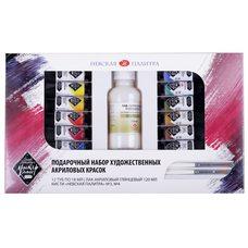 Набор подарочный акриловых красок МАСТЕР-КЛАСС 12 цв.х10мл 2кисти лак в картонной упаковке