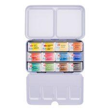 Набор красок акварельных БЕЛЫЕ НОЧИ 12 кювет металлическая упак.