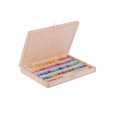 Набор красок акварельных БЕЛЫЕ НОЧИ 48цв.х 2,5мл кисть в деревянной упак. береза