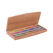 Набор красок акварельных БЕЛЫЕ НОЧИ 48цв.х 2.5мл кисть в деревянной упак. бук