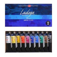 Набор красок акриловых ЛАДОГА 10цв. по 46мл в картонной упаковке