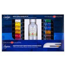 Набор подарочный акриловых красок ЛАДОГА 12 цв. х10мл, 2кисти, лак в картонной упак.