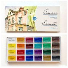 Набор красок акварельных СОНЕТ 24цв. по 2.5мл в картонной упаковке
